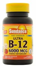 4 Pack Sundance Vitamin B-12 6000 MCG 30 Fast Dissolve Tablets Berry(4 x30 =120)