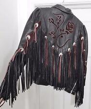 DALLAS LEATHER Jacket Coat Western Cowboy Biker Fringe Conchos Black 10 Vtg