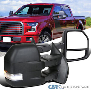 Ford 15-19 F150 F-150 Pickup Black Power Heated Tow Mirrors w/ LED Signal+Puddle