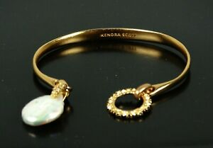 KENDRA SCOTT Color Bar Rose Gold Plated Removable Charms Cuff Bracelet