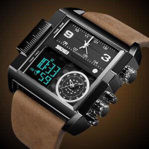Fashion 3 Time Sport Analog Quartz Watches For Men Digital Large Face Wristwatch