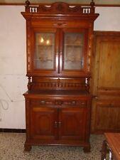 Meuble deux corps, buffet ancien, meuble chêne, vitres gravées à l'acide, dresse