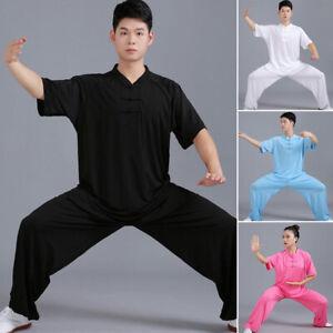 Silk Kung Fu Tai Chi Uniform Suit T-Shirt Pants Martial Art Wingchun Suit Outfit