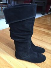 Gianni Bini Knee High Slouch Boots Women's  Black Suede Size 6 Worn Very Little