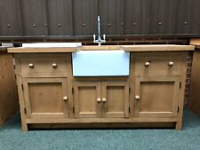 2 X 6 Foot Kitchen Units With Belfast Sink Drainer and Taps Solid Wood