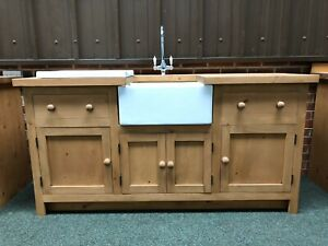Large Freestanding Solid Wood Kitchen Unit Inc Taps , Drainer And Belfast Sink