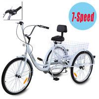 "Adult 24"" 3-Wheel White Trike Bicycle Shimano 7-Speed Tricycle Cruise W/ Basket"