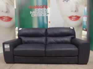 EX-DISPLAY Italian ITALIA LIVING Leather sofa Anthracite Grey