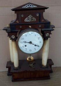 Empire Kaminuhr 45cm Portaluhr Holz Gehäuse Perlmutt Uhr Hermle Gong Pendel