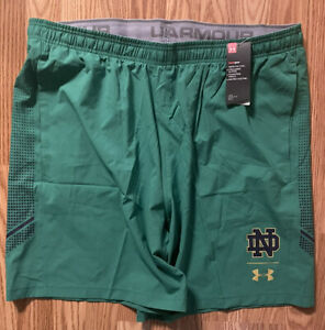 Notre Dame Football Team Issued Under Armour Shorts Green New Tags 3xl