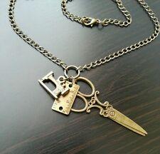 Seamstress Sewing Machine Ruler Scissors Charm Necklace Bronze Tone