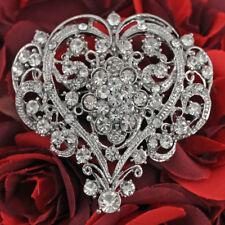 Crystal Rhinestone Heart Silver Brooches Pins For Wedding Bridal Bouquet Decor