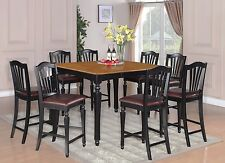 9pc Dinette Counter Height Table With 8 Faux Leather Seat Chairs Black U0026  Cherry