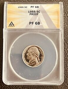 1955 PF68 Jefferson Proof Nickel New Anacs Graded Certified US 5c Coin