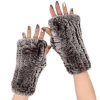 Frauen Echte Nerz Pelz Fingerlose Strick Winter Elastische Handschuhe Fäustlinge