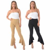 Ladies Flared Frill Hem Trousers Womens High Waist Summer Wear Black Pants 6-18