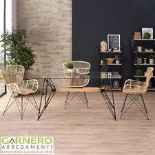 Tavolo ACER piano vetro base acciaio nero legno design moderno ufficio salotto