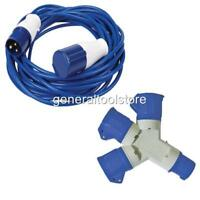 230 240 VOLT 16 AMP 14 METRE EXTENSION LEAD ADAPTOR FLY LEADS FOR THREE PIN PLUG