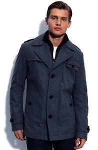 """Hugo Boss Blue / Grey Winter Coat. 42-44"""" Chest, Wool Blend, Military Ofanta"""