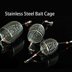 1 PC Fish Small Steel Bait Fishing Lure Cage Basket Feeder Holder Accessorie.ZY