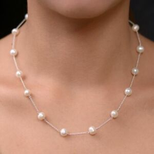 TJC Fresh Water Pearl Station Necklace for Women Sterling Silver 18'' 90ct