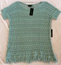 NEW BCBG MAXAZRIA Long Gray Fog Fringe Crochet Knit Boho Tunic Top L NWT $140