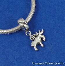 .925 Sterling Silver MOOSE ELK Dangle Bead CHARM fits EUROPEAN Bracelet
