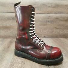 Grinders Womens Combat Boot Bulldog Red Mid Calf Lace Up Chunky Heel Size 11