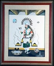 "RAFAEL MEDINA / ORIGINAL PAINTING ""ZIA PUEBLO SUN DANCE"" NATIVE AMERICAN ARTIST"