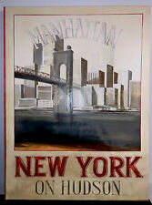 "Fabrice de Villeneuve ""Manhattan New York On Hudson"" Painting Signed , Original."
