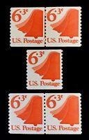 US Stamps, Scott #1518 Liberty Bell 6.3c JLP, Coil pair & single. XF M/NH. Fresh