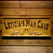 wpa0347 Name Personalized MAN CAVE Bar Pub Cheers Birthday Engraved Wooden Sign