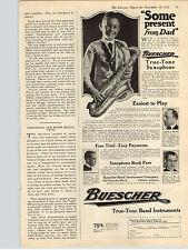 1922 Paper Ad Buescher Saxophone True Tone Band Instruments Elkhart IN
