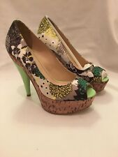 BRAND new in original box. Miss Sixty Silk Floral Design Peep Toe Heels Size 6