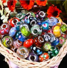 100 New  Silver Lampwork **MURANO GLASS** European Style Mix Beads