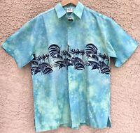 "Vintage RUM REGGAE PACIFIC CUP Men's M Blue Tie Dye Hawaiian Shirt 47"" Chest NOS"