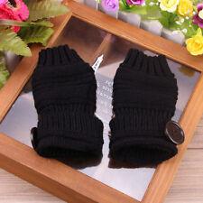 Button Women Knitted Fingerless Half Finger Gloves Winter Warmer Solid Color