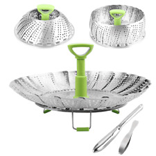 Stainless Steel Vegetable Steamer Basket Folding Steamer Fit Various Size Pot