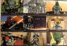 2012 STAR WARS GALAXY 7 ANIMATION CEL 9 CARD COMPLETE SET