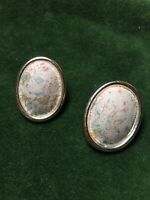 1980s Clip On Earrings Fabric Oval Vintage Floral Design Jewellery