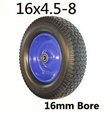 "Punchture proof 16""x4.5-8 Rubber WheelBarrow Cart Tyre Solid Flat Free 16mm Bore"