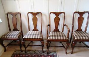 4 Vintage French Country Wood Slat Back Dining Chairs-Style of Guy Chaddock