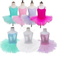 Girls Kids Leotard Ballet Tutu Skirt Dress Ballerina Costume Dancewear Age 2-12Y