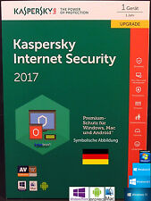 Kaspersky Internet Security 2017 Upgrade 1 Gerät - 1 Jahr + Handbuch (PDF) NEU