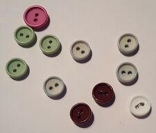 22 X Ring Buttons (12mm and 15mm, Assorted Colours, 2-Hole, Round)