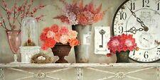 Kathryn White Blossom Time Keilrahmen-Bild 50x100 Leinwand Uhr Shabby Landhaus