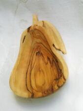 Olive Wood Serving Snack Dish Bethlehem Carved Pear