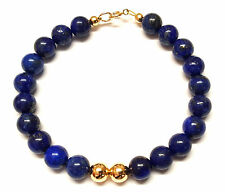 9ct Gold Ball Bracelet Genuine Semi-precious Lapis Lazuli Gemstone Beads