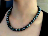 "Wholesale 9-10mm Genuine AAA Tahitian Black Peacock Pearl 18"" Necklace-Gift Box"