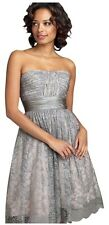 BCBG MAX AZRIA~SILVER LACE STRAPLESS COCKTAIL DRESS~8~EUC